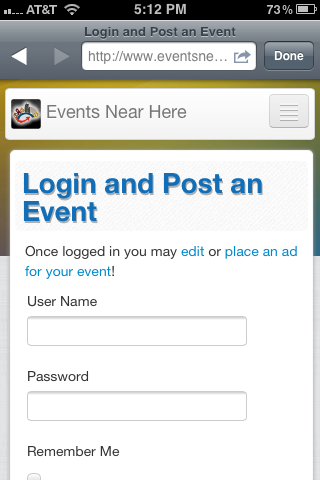 Login for Event Ticket Registration at Events Near Here